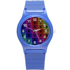Rainbow Grid Form Abstract Round Plastic Sport Watch (S)