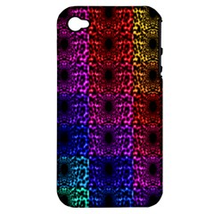 Rainbow Grid Form Abstract Apple iPhone 4/4S Hardshell Case (PC+Silicone)