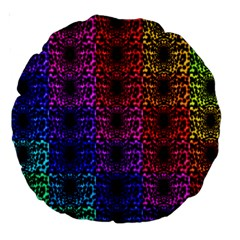Rainbow Grid Form Abstract Large 18  Premium Round Cushions