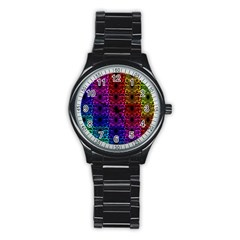 Rainbow Grid Form Abstract Stainless Steel Round Watch