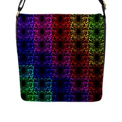 Rainbow Grid Form Abstract Flap Messenger Bag (L)