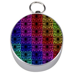 Rainbow Grid Form Abstract Silver Compasses