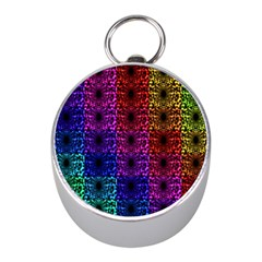Rainbow Grid Form Abstract Mini Silver Compasses