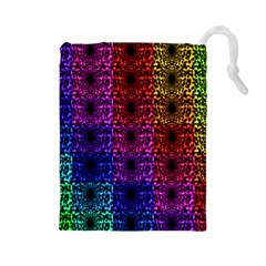 Rainbow Grid Form Abstract Drawstring Pouches (large)