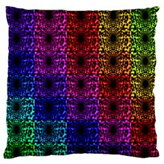 Rainbow Grid Form Abstract Large Flano Cushion Case (one Side)