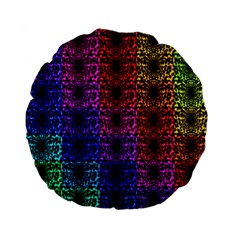 Rainbow Grid Form Abstract Standard 15  Premium Flano Round Cushions