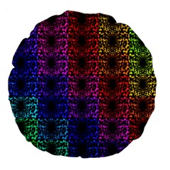 Rainbow Grid Form Abstract Large 18  Premium Flano Round Cushions