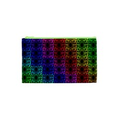 Rainbow Grid Form Abstract Cosmetic Bag (XS)