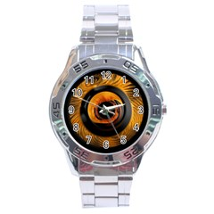 Fractal Pattern Stainless Steel Analogue Watch