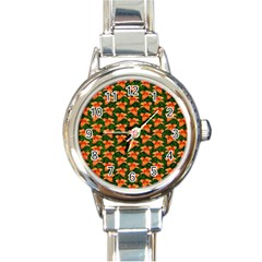 Background Wallpaper Flowers Green Round Italian Charm Watch
