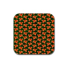 Background Wallpaper Flowers Green Rubber Coaster (Square)