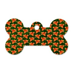 Background Wallpaper Flowers Green Dog Tag Bone (one Side)