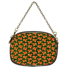 Background Wallpaper Flowers Green Chain Purses (two Sides)
