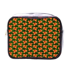 Background Wallpaper Flowers Green Mini Toiletries Bags