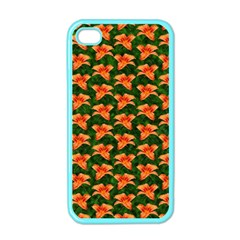 Background Wallpaper Flowers Green Apple Iphone 4 Case (color)