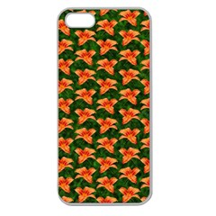 Background Wallpaper Flowers Green Apple Seamless Iphone 5 Case (clear)