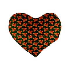 Background Wallpaper Flowers Green Standard 16  Premium Heart Shape Cushions