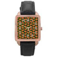 Background Wallpaper Flowers Green Rose Gold Leather Watch