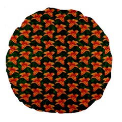 Background Wallpaper Flowers Green Large 18  Premium Flano Round Cushions
