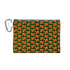 Background Wallpaper Flowers Green Canvas Cosmetic Bag (M)