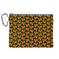 Background Wallpaper Flowers Green Canvas Cosmetic Bag (XL)