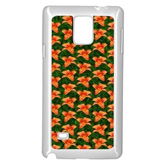 Background Wallpaper Flowers Green Samsung Galaxy Note 4 Case (White)