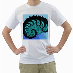 Fractals Texture Abstract Men s T-Shirt (White) (Two Sided)