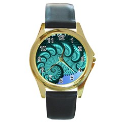 Fractals Texture Abstract Round Gold Metal Watch