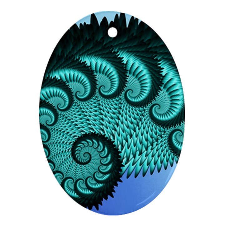Fractals Texture Abstract Oval Ornament (Two Sides)