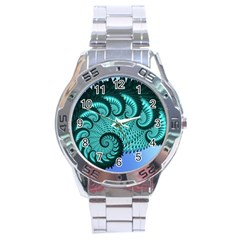 Fractals Texture Abstract Stainless Steel Analogue Watch