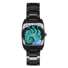 Fractals Texture Abstract Stainless Steel Barrel Watch