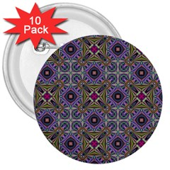 Vintage Abstract Unique Original 3  Buttons (10 pack)
