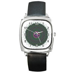 Pattern District Background Square Metal Watch