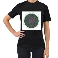 Pattern District Background Women s T-Shirt (Black) (Two Sided)