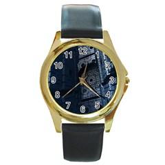 Graphic Design Background Round Gold Metal Watch