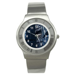 Graphic Design Background Stainless Steel Watch