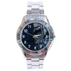 Graphic Design Background Stainless Steel Analogue Watch