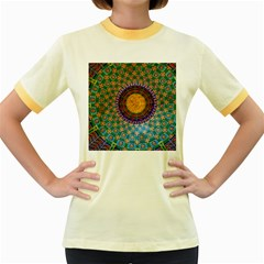 Temple Abstract Ceiling Chinese Women s Fitted Ringer T Shirts