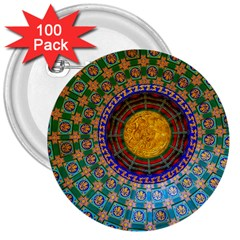 Temple Abstract Ceiling Chinese 3  Buttons (100 Pack)