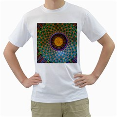 Temple Abstract Ceiling Chinese Men s T-Shirt (White) (Two Sided)