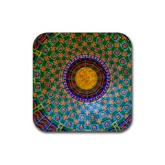 Temple Abstract Ceiling Chinese Rubber Square Coaster (4 pack)