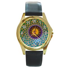 Temple Abstract Ceiling Chinese Round Gold Metal Watch