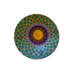 Temple Abstract Ceiling Chinese Rubber Coaster (Round)
