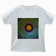 Temple Abstract Ceiling Chinese Kids White T-Shirts
