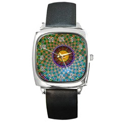 Temple Abstract Ceiling Chinese Square Metal Watch