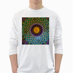 Temple Abstract Ceiling Chinese White Long Sleeve T Shirts