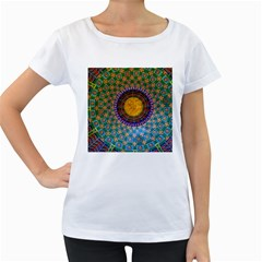 Temple Abstract Ceiling Chinese Women s Loose-Fit T-Shirt (White)