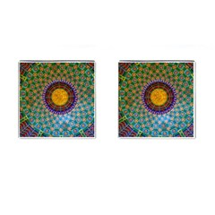 Temple Abstract Ceiling Chinese Cufflinks (Square)
