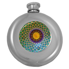 Temple Abstract Ceiling Chinese Round Hip Flask (5 oz)