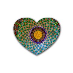 Temple Abstract Ceiling Chinese Rubber Coaster (heart)